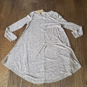 Brown and Cream Marled Ribbed Swing Tunic Dress